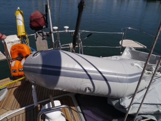 Inflating the dinghy